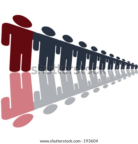 men in a line - stock photo