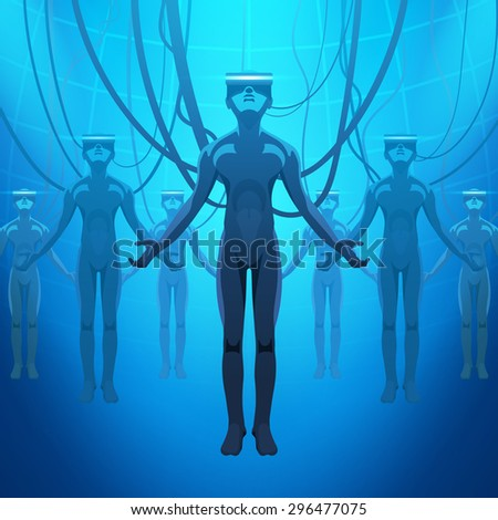 Men in a virtual reality helmets. Futuristic males figures in a VR headsets against the blue abstract background - stock photo