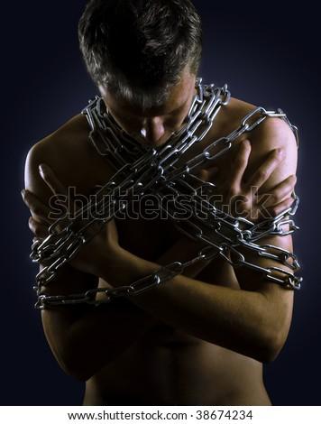 Men in captivity - stock photo
