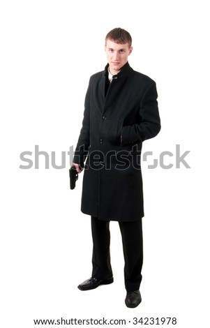 men in formal wear with gun, isolated on white - stock photo