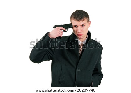 men in formal wear with gun ready to suicide, isolated on white