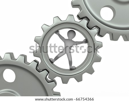 Men in gear on white isolated background. 3d - stock photo