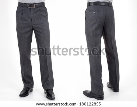 men in trousers on white background back and front views