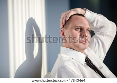 Men in white shirt and tie - stock photo