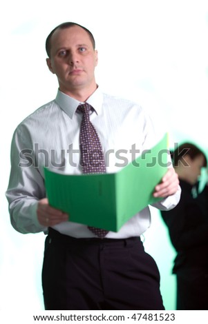 Men in white shirt with folder - stock photo