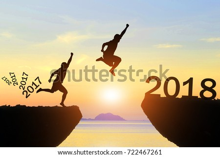 Men jump Silhouette Happy New Year 2018