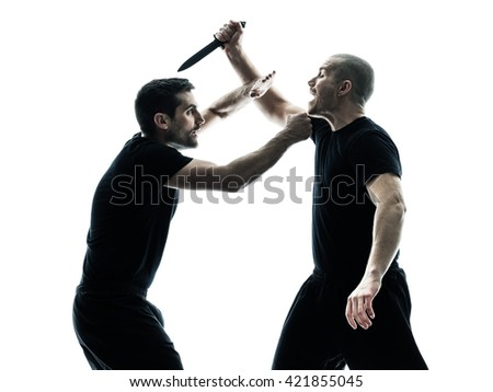 men krav maga fighters fighting isolated - stock photo