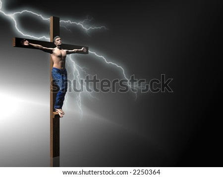 Men nailed to a cross, easter, the crucifixion of jesus.  faith, belief concept. Clipping path in picture. - stock photo