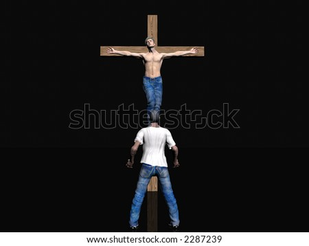 Men nailed to a cross, easter, the crucifixion of jesus.  faith, belief concept. Clipping path in picture.