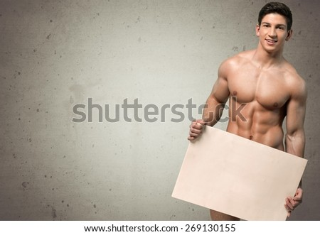 Men. Naked Muscular Torso Covering Copy Space Box - stock photo