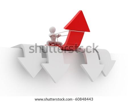 Men on arrow. Conceptual image of success. 3d - stock photo