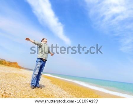 men on beach - stock photo