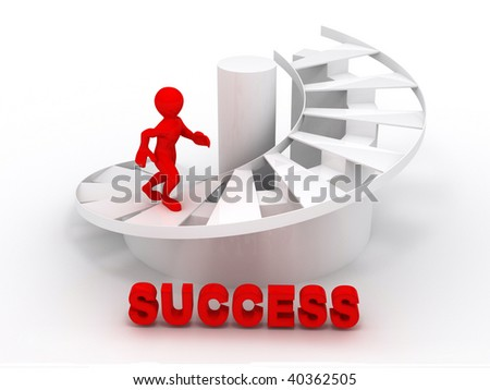 Men on stairs.Success. 3d - stock photo