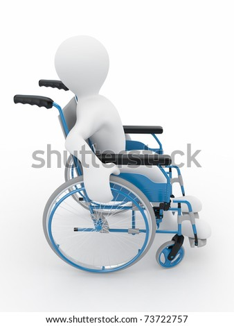 Men on wheelchair on white isolated background. 3d - stock photo