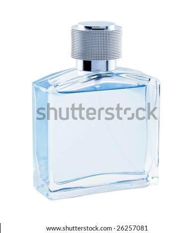 Men perfume. Bottle spray blue color. Glamour - stock photo