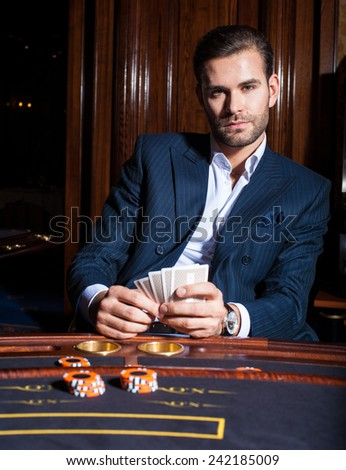 Men play in casino. Poker  - stock photo