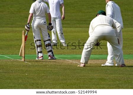 Men playing cricket. - stock photo