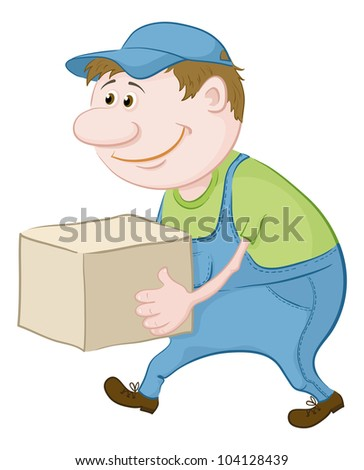 Men porter in working uniform carries a box - stock photo