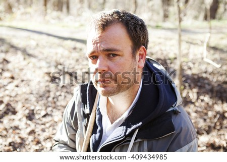 men portrait in the forest