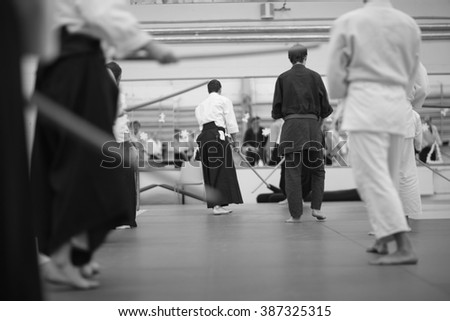 Men practicing Japanese martial arts - stock photo