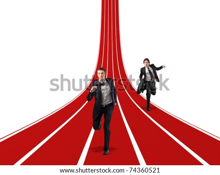 men running on 3d way - stock photo