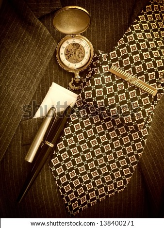 Men's accessories business background. Sepia image. - stock photo