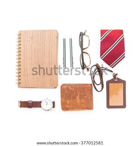 Men's accessories on white background