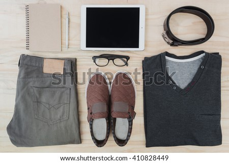 Men's accessories set, lay flat