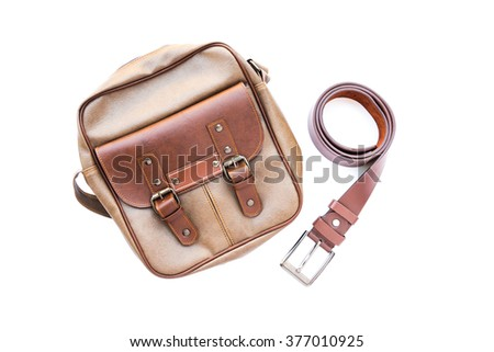 Men's accessories with leather bag and belt on white background  - stock photo