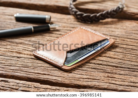 men's accessory, handmade minimalist brown leather wallet
