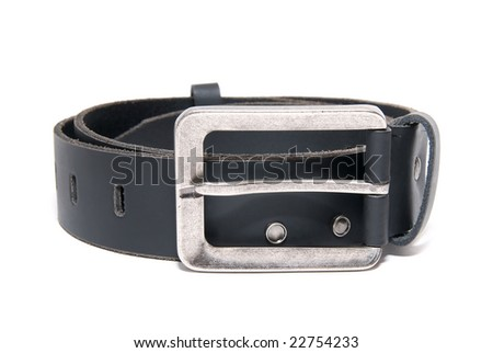 Men's belt isolated on the white background - stock photo