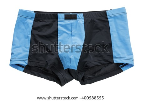 Men's black and blue briefs isolated on white. - stock photo