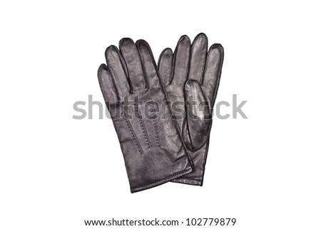 men's black gloves isolated on white background - stock photo