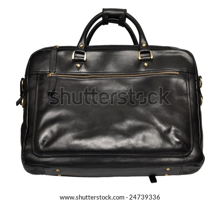 Men's black leather bag isolated on white background - stock photo