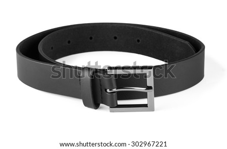 Men's black leather belt for trousers, boy's  belt isolated on white background - stock photo
