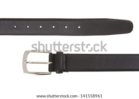 Men's black leather belt with classic metallic catch isolated on white. - stock photo