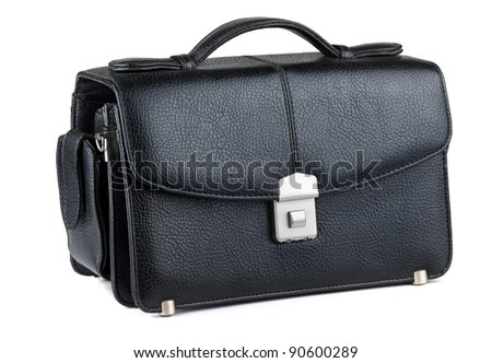Men's black leather handbag isolated on white