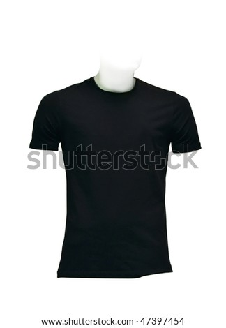 Men's black T-shirt. Photo with clipping path. - stock photo