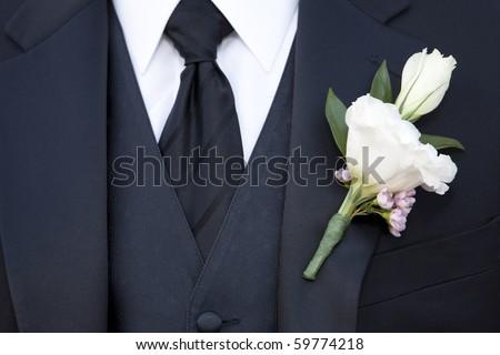 men's black tie - stock photo
