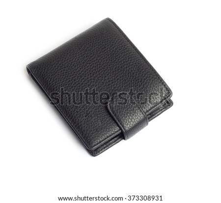 men's black wallet money in cash isolated on white background - stock photo