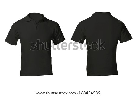 Men's Blank Black Polo Shirt, Front and Back Design Template - stock photo