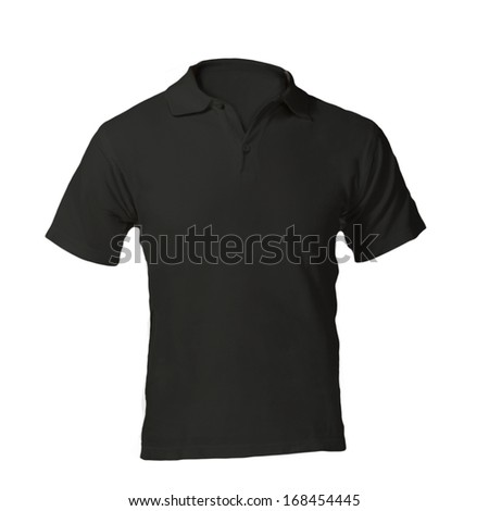 Men's Blank Black Polo Shirt, Front Design Template - stock photo