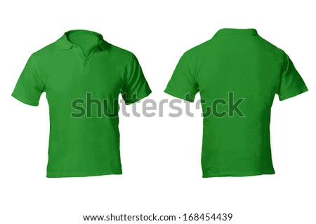 Men's Blank Green Polo Shirt, Front and Back Design Template - stock photo