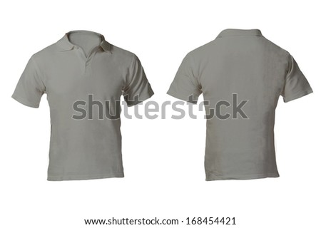 Men's Blank Grey Polo Shirt, Front and Back Design Template - stock photo