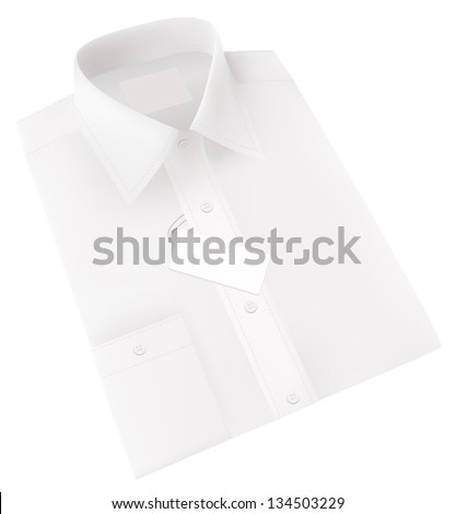 Men's blank white folded shirt. - stock photo