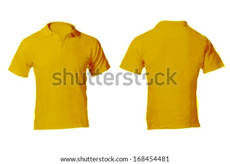 Men's Blank Yellow Polo Shirt, Front and Back Design Template - stock photo