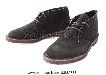 men's boots suede black. isolated on white background. - stock photo