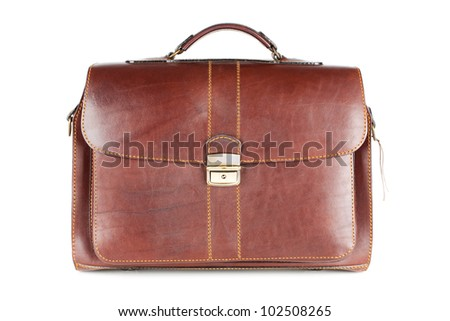 Men's brown leather business briefcase on a white background - stock photo