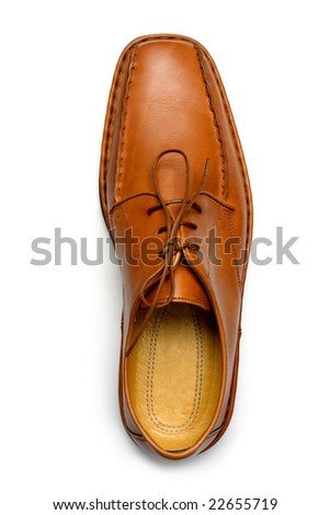 Men's casual leather shoe, top view - stock photo