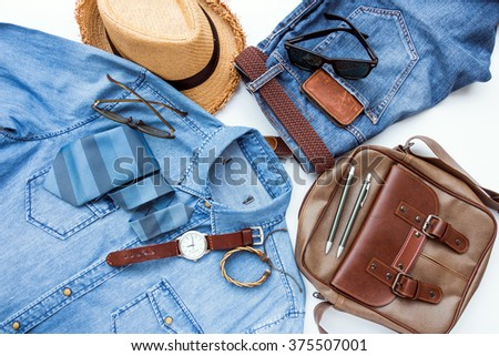 Men's casual outfits with accessories - stock photo
